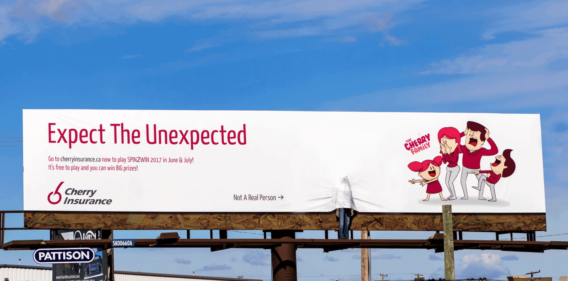 Cherry Insurance Billboard Mannequin Covered